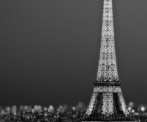 paris, night, and black and white image