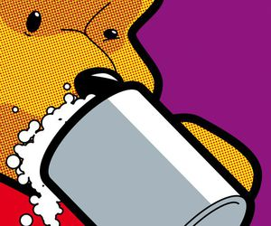 pop art, beer, and winnie the pooh image