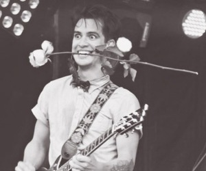 panic! at the disco, brendon urie, and black and white image