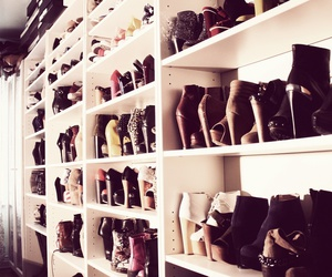 boots, closet, and heels image