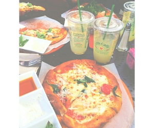 food, pizza, and drinks image