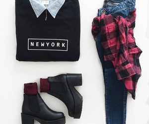 boots, flannel, and outfit image