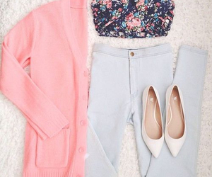 cardigan, flats, and girly image