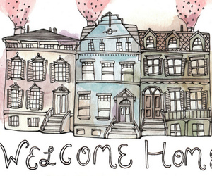 greetings, Houses, and watercolour image