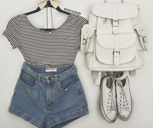 fashion, outfit, and backpack image