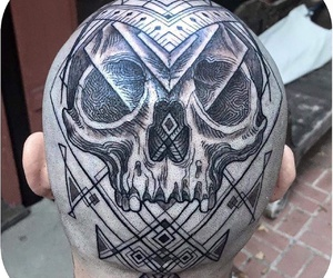 inked, skull, and tatted image
