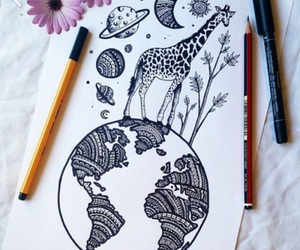 drawing, art, and giraffe image