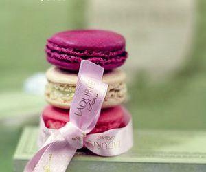 macarons, pink, and food image