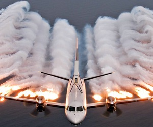 airplane, plane, and fire image