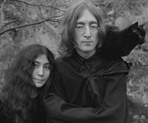 john lennon, cat, and Yoko Ono image