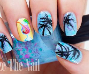 beautiful, blue, and nail art image
