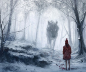 wolf, red, and snow image