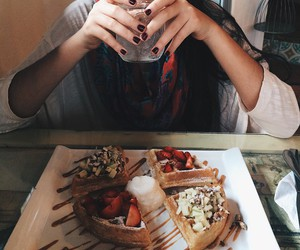 food, girl, and waffles image