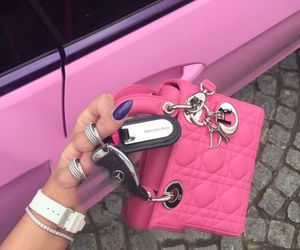 pink, dior, and car image