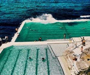 blue, ocean, and pool image