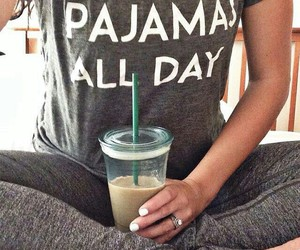pajamas, style, and coffee image