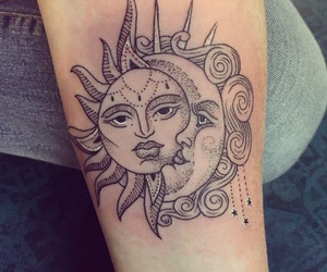 moon, sun, and tattoo image