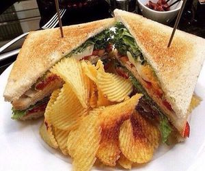 food, sandwich, and chips image