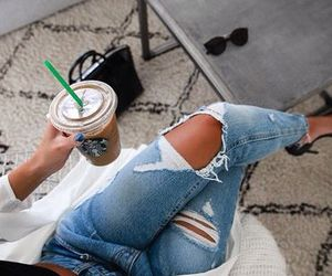 fashion, starbucks, and jeans image