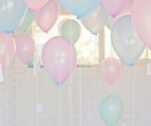pastel, balloons, and pink image