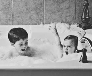 kids, bath, and black and white image