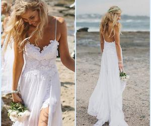 dress, wedding, and beach image