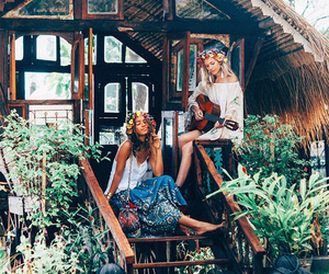 bohemian, flowers, and girls image