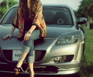 beautiful, girl, and car image