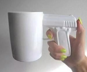 gun, cup, and white image