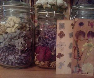 bookmark, dried flowers, and jars image