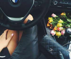 chanel, flowers, and black image