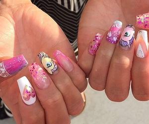 colorful nails, MyLittlePony, and pink nails image