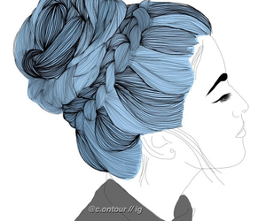 blue, outline, and girl image