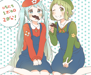 hatsune miku, mario, and crossover image