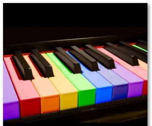 colorful, key, and piano image