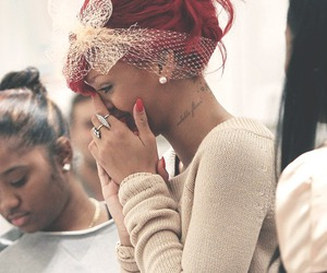 rihanna, red hair, and tattoo image