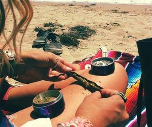 weed, beach, and blunt image