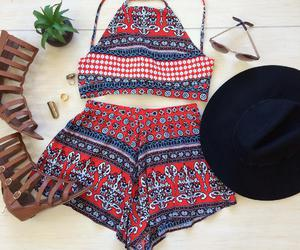hat, outfit, and sandals image