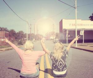 peace, road, and vintage image