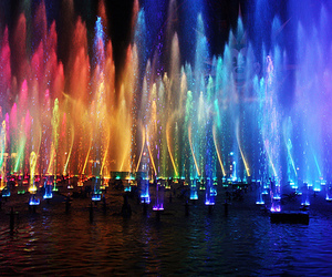 water, light, and colorful image