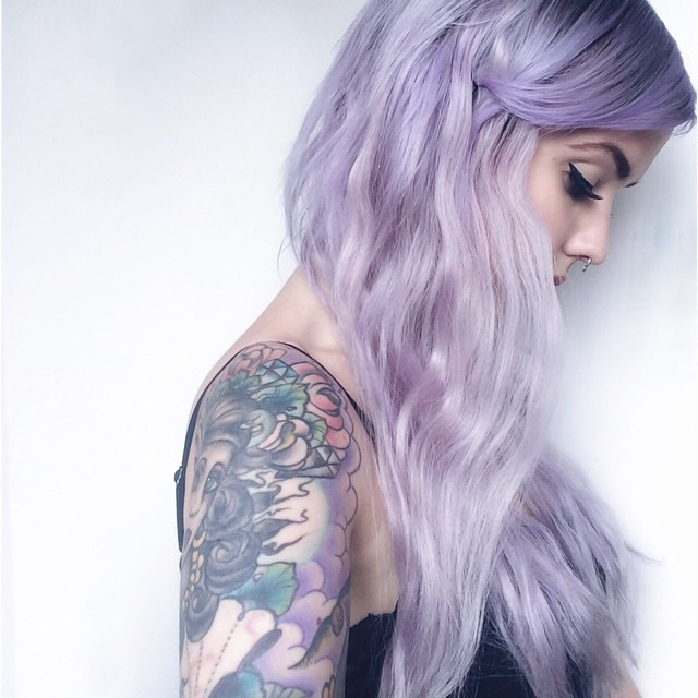 hair, tattoo, and purple image