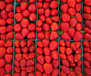 strawberry, fruit, and red image