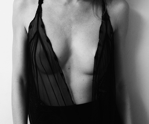 black and white, woman, and low v image