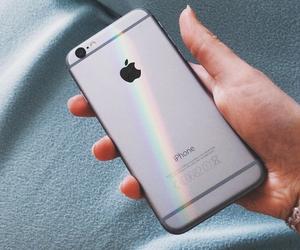 iphone, rainbow, and apple image