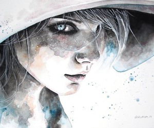 girl, portrait, and watercolor image