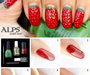 nails, strawberry, and red image