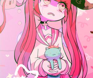 anime girl, cartoon, and pink hair image