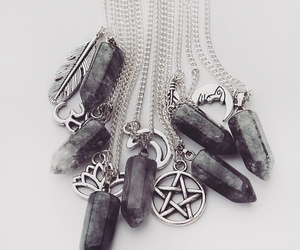 black, crystal, and necklace image