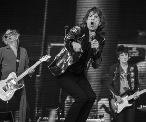 black and white, Keith Richards, and mick jagger image