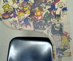 cartoon, 90s, and desk image